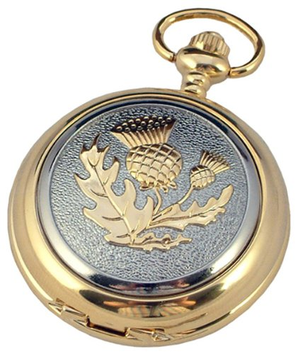 A E Williams Scottish Thistle 2 tone mens quartz pocket watch with chain