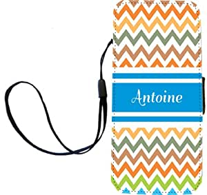 "Rikki Knight ""Antoine"" Blue Chevron Name Flip Wallet iPhoneCase with Magnetic Flap for iPhone 5/5s - ""Antoine"" Blue Chevron Name"