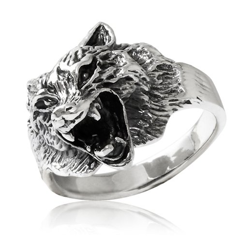 Chuvora 925 Sterling Silver Heavy Howling Wild Wolf Solid Ring for Men Size 11 - Nickle Free