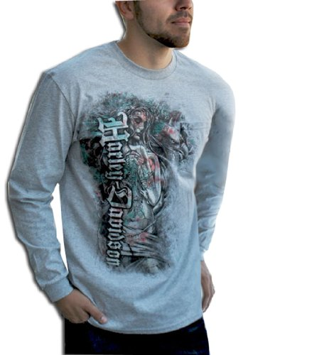 Harley-Davidson® Mens Chica Hidden Pocket Grey Long Sleeve T-Shirt (X-Large)