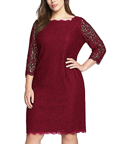 Nemidor Women's 3/4 Sleeves Plus Size Cocktail Party Midi Lace Dress (18W, Wine Red)