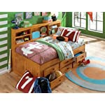 Twin Daybed Bookcase with 6 Drawers, Entertainment Dresser in Honey Finish