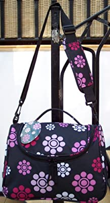 Travel & Makeup Bag Carry on Hand luggage CABIN APPROVED Black with Pink Retro flowers small light weight