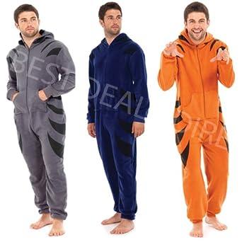 Mens Onesies All In One Sleep Suit Pyjamas Tiger (Medium / Large, Blue)