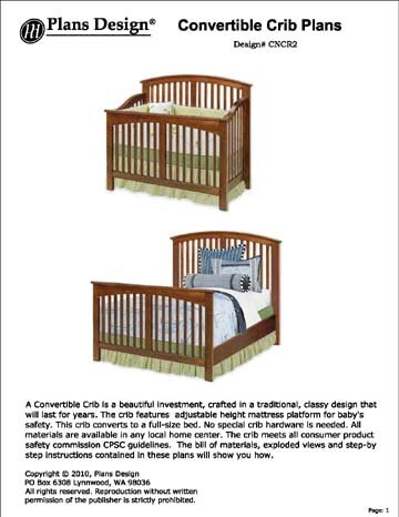 Convertible Crib/full Bed Furniture Woodworking Plans