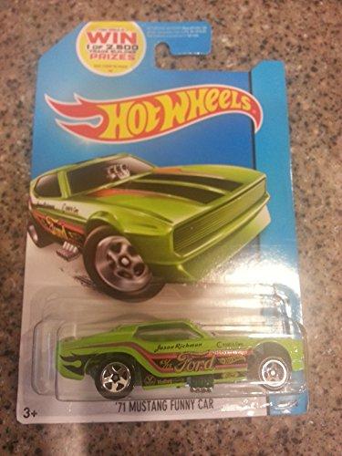 HOT WHEELS 1971 MUSTANG FUNNY CAR DIE-CAST, HOT WHEELS 50TH GREEN JASON RICHMAN MUSTANG FUNNY CAR - 1