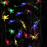 16.4 Feet 20 LED Solar Powered Dragonfly Fairy Lights for Christmas Garden Patio Lawn Fence Yard