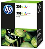 HP 301XL - 2-pack Tri-color Original Ink Cartridges (D8J46AE)
