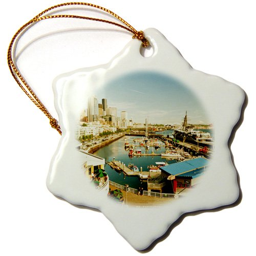 orn_148496_1 Danita Delimont - Seattle - USA, Washington, Seattle, Bell Street Pier - US48 RDU0473 - Richard Duval - Ornaments - 3 inch Snowflake Porcelain Ornament