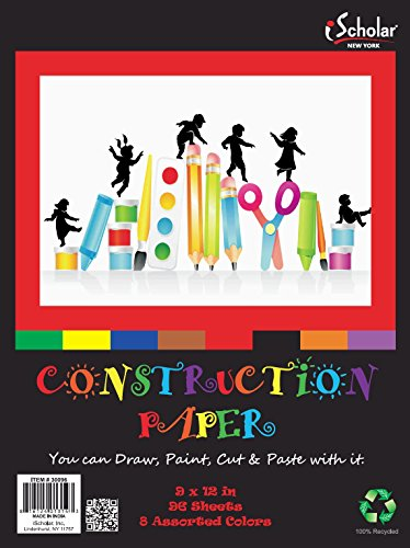iScholar Construction Paper, 9x12 Inches, Assorted Colors, 96 Sheets per Pack (30096) - 1