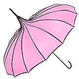 TopTie Peak Shaped Umbrella Wedding Parasol Bridal Umbrella Windproof Waterproof-Pink (Color: Pink, Tamaño: one size)