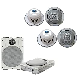 Lanzar Marine Amp Woofer and Speaker Package - AQTB8 8\'\' 1000 Watts Low-Profile Super Slim Active Amplified Marine/Waterproof Subwoofer System - x2 AQ7CXS 2 500 Watts 7.7\'\' 2-Way Marine Speakers (Silver Color)
