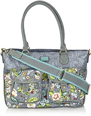 Oilily French Flowers M Carry All Grey, sacs à main femme - Gris - Grau (grey 604), FR : 34x24x13 cm (B x H x T) (Taille fabricant : B x H x T)