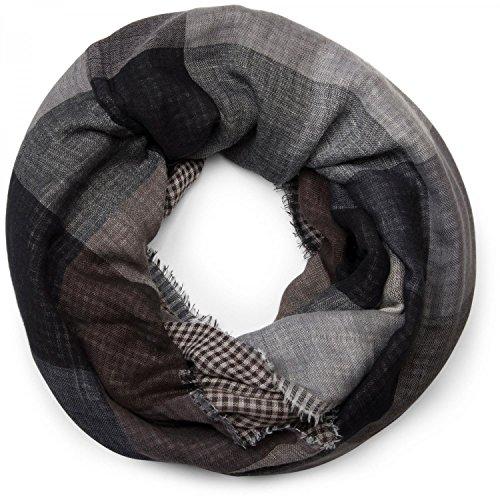 stylebreaker-warmer-karo-muster-loop-schlauchschal-mit-fransen-unisex-01018037-farbegrau-schwarz