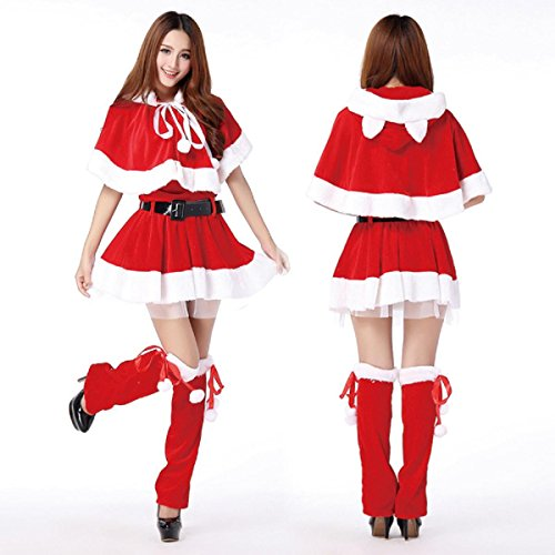 WenMei Women's Christmas Red Santa Cape Fancy Dress Party Costume OutfitCute Cat