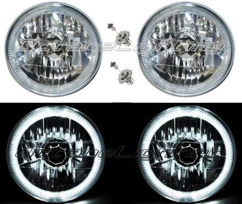 "Octane Lighting 55 56 57 Chevy Halogen White Led Halo Headlight Headlamp H4 Light Bulbs 7"" Pair"