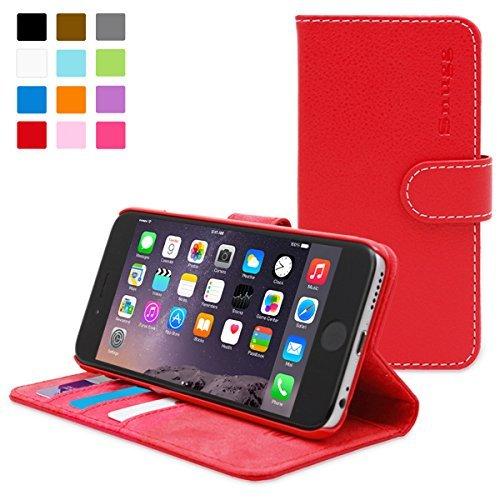 英国Snugg製 iPhone6 Plus用 PUレザー手帳型ケース レッド