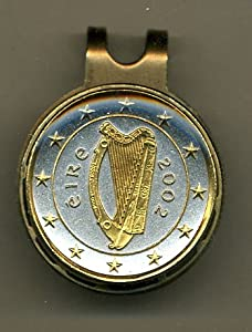 Gorgeous 2-Toned Gold on Silver Ireland Harp - Coin - Golf Ball Marker - Hat Clips by J&J Coin Jewelry