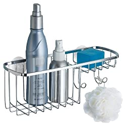 mDesign Suction Shower Combo Organizer Basket with Soap Holder and Hooks, Polished Stainless Steel