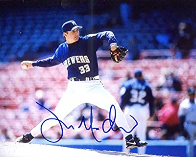Jamie McAndrew Autographed/ Original Signed 8x10 Color Glossy Photo Showing Him w/ the Milwaukee Brewers