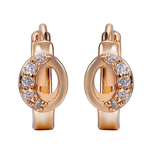 Snowman Lee Eyes Bright Pupil Gemstone 18k Rose Gold Plated Hoop Earrings