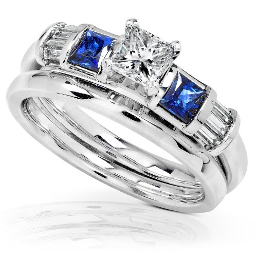 1 Carat Blue Sapphire & Diamond Wedding Rings Set in 14k White Gold