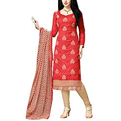 Applecreation Red Embroidered Dress Material With Matching Dupatta for Women's