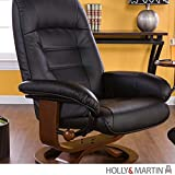 Holly & Martin Hemphill Leather Recliner and Ottoman, BLACK