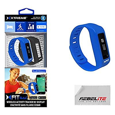 XFIT Wireless Bluetooth Activity/Fitness Tracker Watch with 5 on screen Display modes for iPhone 6, 6 Plus, 5S, 5C, 5, 4S, Samsung Galaxy S5, S4, S3; iPad Mini 3,2, 1, Air 2, Air 1, iPad 3, iPad 4, iPod Touch Gen 5; Samsung Galaxy Note 2, Galaxy Tab 4 10.