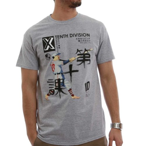 10.Deep Mens Far East Short-Sleeve T-Shirt/Tee, Heather Grey, X-Large