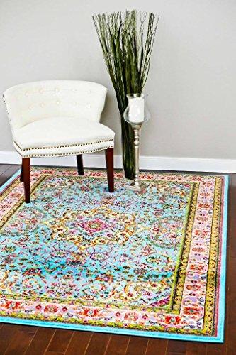 10015 Blue 7'10x10'6 Area Rug Carpet Large New