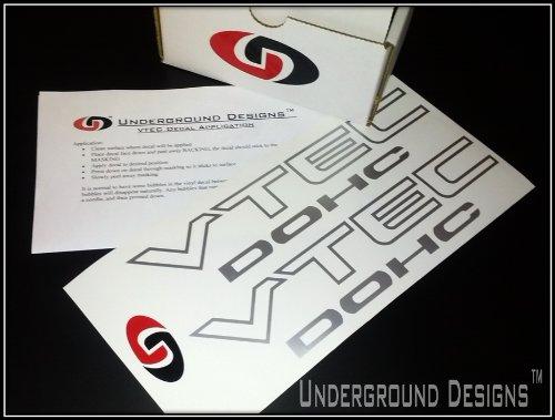 VTEC DOHC Vinyl Decal Sticker Import Tuner METALLIC SILVER by Underground Designs (Vtec Honda Sticker compare prices)