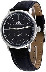 Adee Kaye #AK9044-M Men's Retro Vintage Leather Band Black Dial Automatic Watch