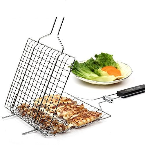 TOPCHANCES BBQ Barbecue Grilling Basket Roast Folder Tool with Wooden Handle (1PCS) (Fish Rack For Grilling compare prices)