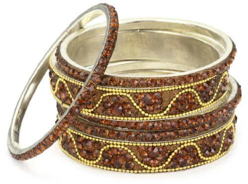Chamak by priya kakkar 6 Coffee Crystal Bangle Bracelet with A Gold Wave