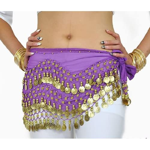 Purple Belly Dance Skirt With Gold Coins
