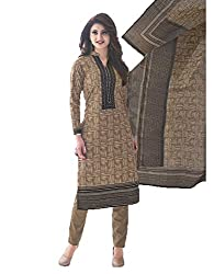 Stylish Girls Women Cotton Printed Unstitched Dress Material (SG508_Brown_Free size)
