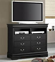 Big Sale Coaster TV Dresser Stand Louis Philippe Style in Deep Black Finish
