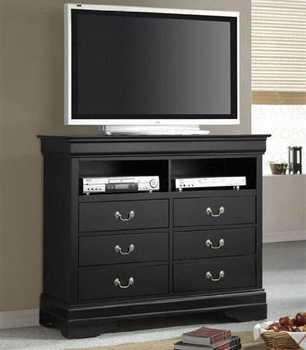 TV Dresser Stand Louis Philippe Style in Deep Black Finish
