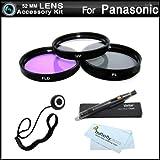 52mm Filter Kit For Panasonic Lumix DMC-FZ150K, DMC-FZ150, DMC-G5, DMC-G5K, DMC-G5KS, DMC-GH3, DMC-GH3K Digital Camera Includes 52mm Multi-Coated 3 PC Filter Kit (UV, CPL, FLD) + LensPen + More