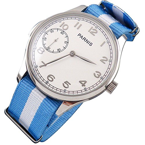 Fanmis Pilot Display Case White Dial 6497 Movement Seagull Hand Winding Mechanical Mens Watch Nylon Strap