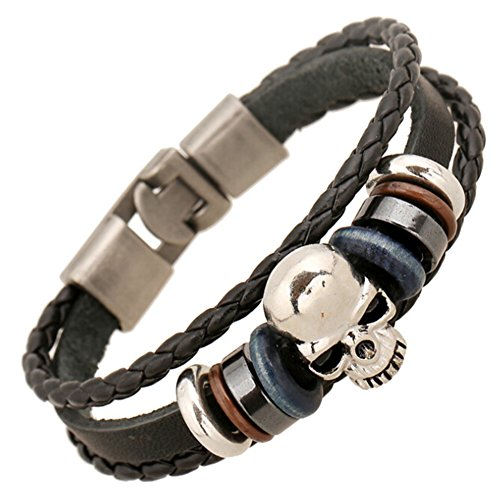 SumBonum Jewelry Mens Alloy Leather Braided Rope Bracelet, Vintage Classic Beads Gothic Skull Wrap Cuff Bracelet, Black Brown Blue Silver (Cool Skull Stuff compare prices)