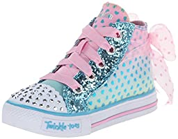 Skechers Kids Shuffles-Pixie Bunch Light-Up Sneaker,Turquoise/Pink,9 M US Toddler