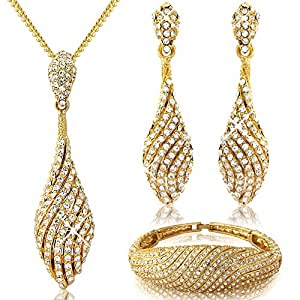 Amazon.com Bridal - Evening - Spiral Jewelry Gift Set - Gold Tone - Necklace Pendant Earrings ...