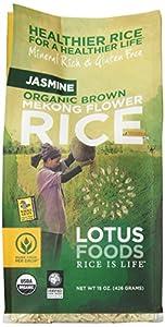 Lotus Foods Organic Brown Mekong Flower Rice, Jasmine, 15-Ounce (Pack of 6)