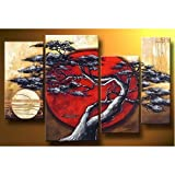 Asian Zen Decorative Landscape Tree Blossom Oil Painting Hand Painted Wall Art 4 Piece