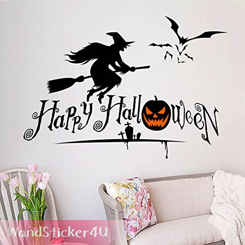 wandsticker4u-wandtattoo-halloween-hexe-auf-besen-party-dekoration-geist-gruselig-horror-fledermaus-