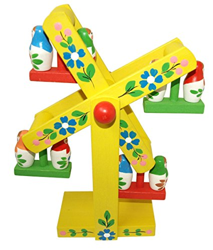 Wooden Ferris Wheel with Matryoshkas - Hand painted Rotating Carousel - Replica of a Soviet Wooden Toy - 11