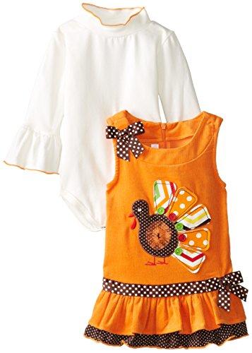 Bonnie Baby-Girls Infant Orange Corduroy Jumper With Turkey Applique, Orange, 18 Months front-1080215