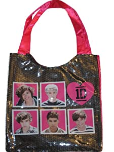 1D One Direction Sequin encased Satin Pink Tote Bag Harry Liam Louis Niall Zayn